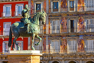 Statue of King Philip lll in the Plaza Mayor, Madrid, Spain, Europe