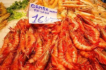 Prawns in Mercado Central (Central Market), Valencia, Spain, Europe