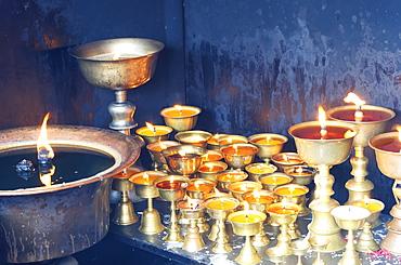 Votive candles, Boudhanath Stupa, UNESCO World Heritage Site, Kathmandu, Nepal, Asia