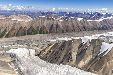 Aerial view over the Central Tian Shan Mountain range, Border of Kyrgyzstan and China, Kyrgyzstan, Central Asia, Asia