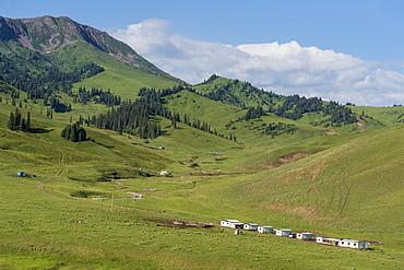 Helicopter base in Karkyra Valley, Central Tian Shan Mountain range, Border of Kyrgyzstan and China, Kyrgyzstan, Central Asia, Asia