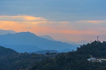 Sunrise over the Himalaya range, Dhampus, Nepal, Asia
