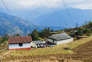 Himalaya range viewed from the Dhampus Mountain village, Nepal, Asia