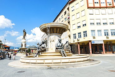 Olympias Monument and fountain, Skopje, Macedonia, Europe