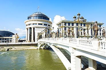 Government buildings, Financial Police Office, Ministry of Foreign Affairs, Art Bridge, Skopje, Macedonia, Europe