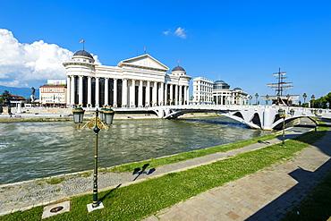 Archaeological Museum of Macedonia along the Vardar River and Eye Bridge, Skopje, Macedonia, Europe