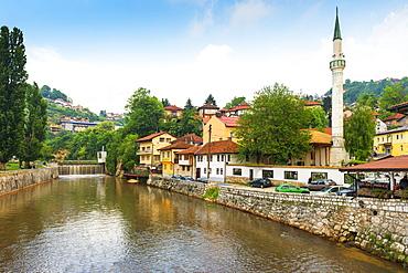 Hajjis Mosque by Miljacka river in Sarajevo, Bosnia and Hercegovina, Europe