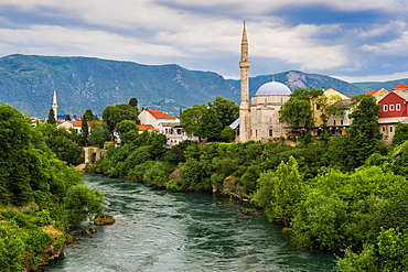 Koski Mehmed Pasha Mosque by Neretva river in Mostar, Bosnia and Hercegovina, Europe