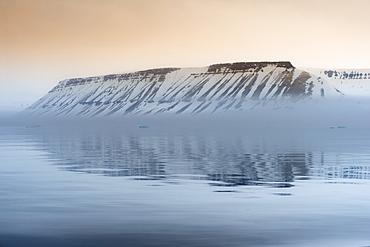 Spitsbergen at sunset in Hinlopen Strait, Norway, Europe