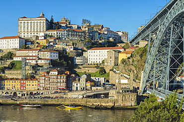 Former Episcopal Palace overlooking Ribeira district and Ponte Dom Luis I Bridge, UNESCO World Heritage Site, Oporto (Porto), Portugal, Europe