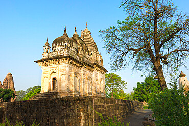Parvati temple with architectural elements of three religions, Islam, Buddhism, Hinduism, Khajuraho Group of Monuments, UNESCO World Heritage Site, Madhya Pradesh state, India, Asia