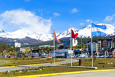Ushuaia, southernmost city of Argentina on the Beagle Canal dominated by snow covered mountains, Tierra del Fuego, Argentina, South America