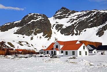 Former Grytviken whaling station under snow, King Edward Cove, South Georgia, South Georgia and the Sandwich Islands, Antarctica, Polar Regions