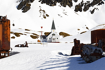 Norwegian style Whalers Church, former Grytviken whaling station, South Georgia and the Sandwich Islands, Antarctica, Polar Regions