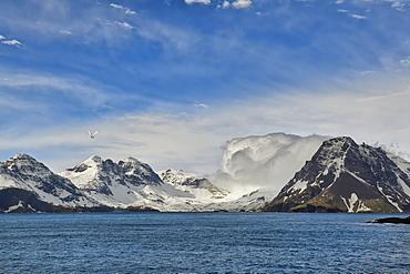 Snow covered mountains, Prion Island, South Georgia, South Georgia and the Sandwich Islands, Antarctica, Polar Regions