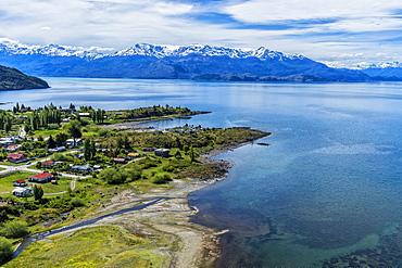 Aerial view of Puerto Guadal, Laguna San Rafael National Park, Aysen Region, Patagonia, Chile, South America
