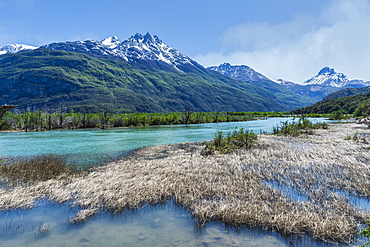 Castillo mountain range and Ibanez River wide valley viewed from the Pan-American Highway, Aysen Region, Patagonia, Chile, South America