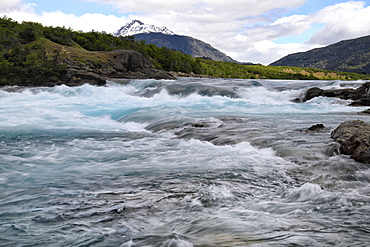 Confluence blue Baker River and grey Neff River, Pan-American between Cochrane and Puerto Guadal, Aysen Region, Patagonia, Chile, South America