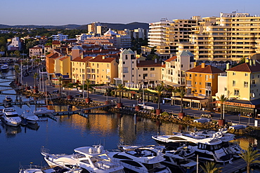 Vilamoura marina at night, Algarve, Portugal,, Europe