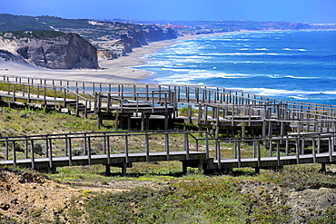 Boardwalk overlooking the Atlantic coast, Foz de Arelho, Leiria district, Portugal, Europe