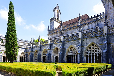 King Joao I Cloister, Arcade Screens, Dominican Monastery of Batalha (Saint Mary of the Victory Monastery), UNESCO World Heritage Site, Batalha, Leiria district, Portugal, Europe