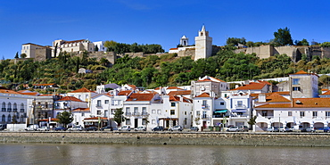 Alcacer do Sal Castle and promenade along the Sado River, Lisbon coast, Portugal, Europe