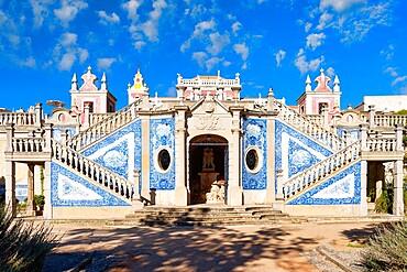 Staircase and azulejos, Estoi Palace garden, Estoi, Loule, Faro district, Algarve, Portugal, Europe