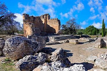 Roman Ruins of Milreu, Temple, Estoi, Faro district, Algarve, Portugal, Europe