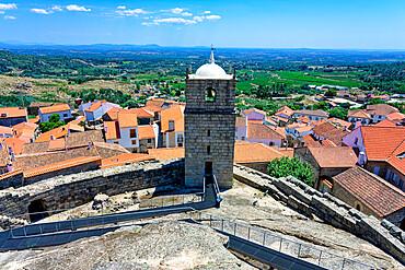 Castle bell and clock tower, Castelo Novo, Historic village around Serra da Estrela, Castelo Branco district, Beira, Portugal, Europe