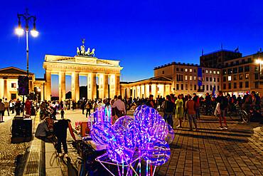 Brandenburg Gate during the Festival of Lights, Pariser Square, Unter den Linden, Berlin, Germany