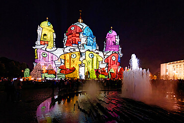Berlin Cathedral during the Festival of Lights, Unesco World Heritage Site, Museum Island, Unter den Linden, Berlin, Germany