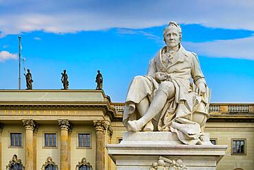Humboldt University with Alexander von Humboldt statue, Unter den Linden, Berlin, Germany
