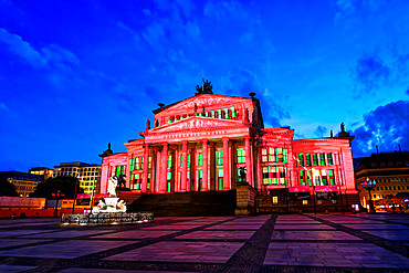 Konzerthaus Berlin and Schiller monument during the Festival of Lights, Gendarmen square, Unter den Linden, Berlin, Germany