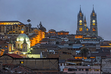 Basilica of the National Vow at night, Quito, UNESCO World Heritage Site, Pichincha Province, Ecuador, South America
