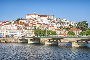 View to the old city and the University over the Mondego river, Coimbra, UNESCO World Heritage Site, Beira Province, Portugal, Europe