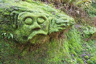 Moss covered sculptures in the forest, Goa Gajah Elephant Cave complex, Bali, Indonesia, Southeast Asia, Asia