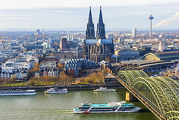 Cologne Cathedral and Hohenzollern Bridge, Cologne (Koln), North Rhine Westphalia, Germany, Europe