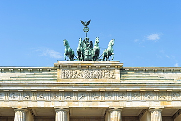 Quadriga on top of the Brandenburger Tor, Berlin, Brandenburg, Germany, Europe