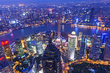 View over Pudong financial district at night, Shanghai, China, Asia