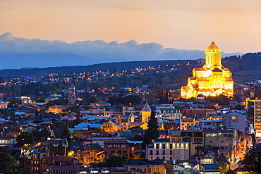 View over Tbilisi at dawn, Georgia, Caucasus, Asia