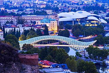 Overview over Tbilisi at dawn, Georgia, Caucasus, Asia