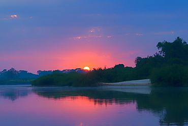 Sunrise over Cuiaba River, Pantanal, Mato Grosso State, Brazil, South America