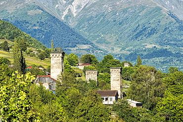Traditional medieval Svanetian tower houses, Lashtkhveri village, Svaneti region, Georgia, Caucasus, Asia
