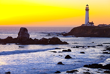 Pigeon Point Lighthouse at sunset, California, United States of America, North America