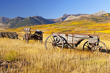Old horse-drawn wagons with the Rocky Mountains in the Background, near Waterton Lakes National Park, Alberta, Canada, North America