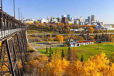 View of the Edmonton Skyline and the High Level Bridge in autumn, Edmonton, Alberta, Canada, North America