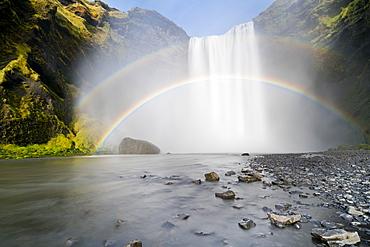 Double rainbow over Skogar Waterfall, Skogar, Iceland, Polar Regions
