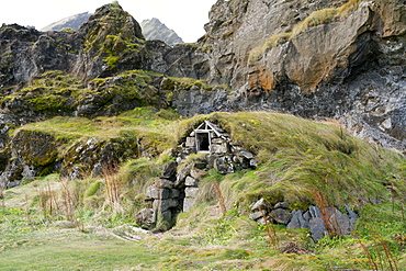 Traditional turf-roofed house at Drangshlid, near Skogar, Iceland, Polar Regions
