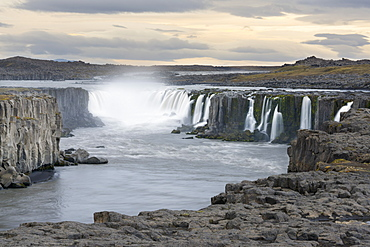 Selfoss Waterfall at Dusk, Iceland, Polar Regions