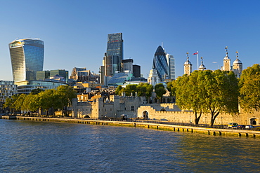 View of the Financial District of the City of London, and the Tower of London, London, England, United Kingdom, Europe
